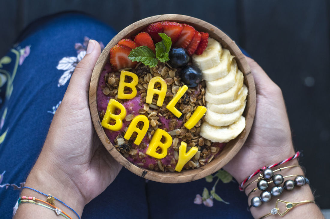 Bali Banana Breakfast Food And Drink Blue Berries Close-up Food Food And Drink Freshness Fruit Fruits Granola Health Healthy Eating Human Hand Smoothie Bowl Strawberry Text