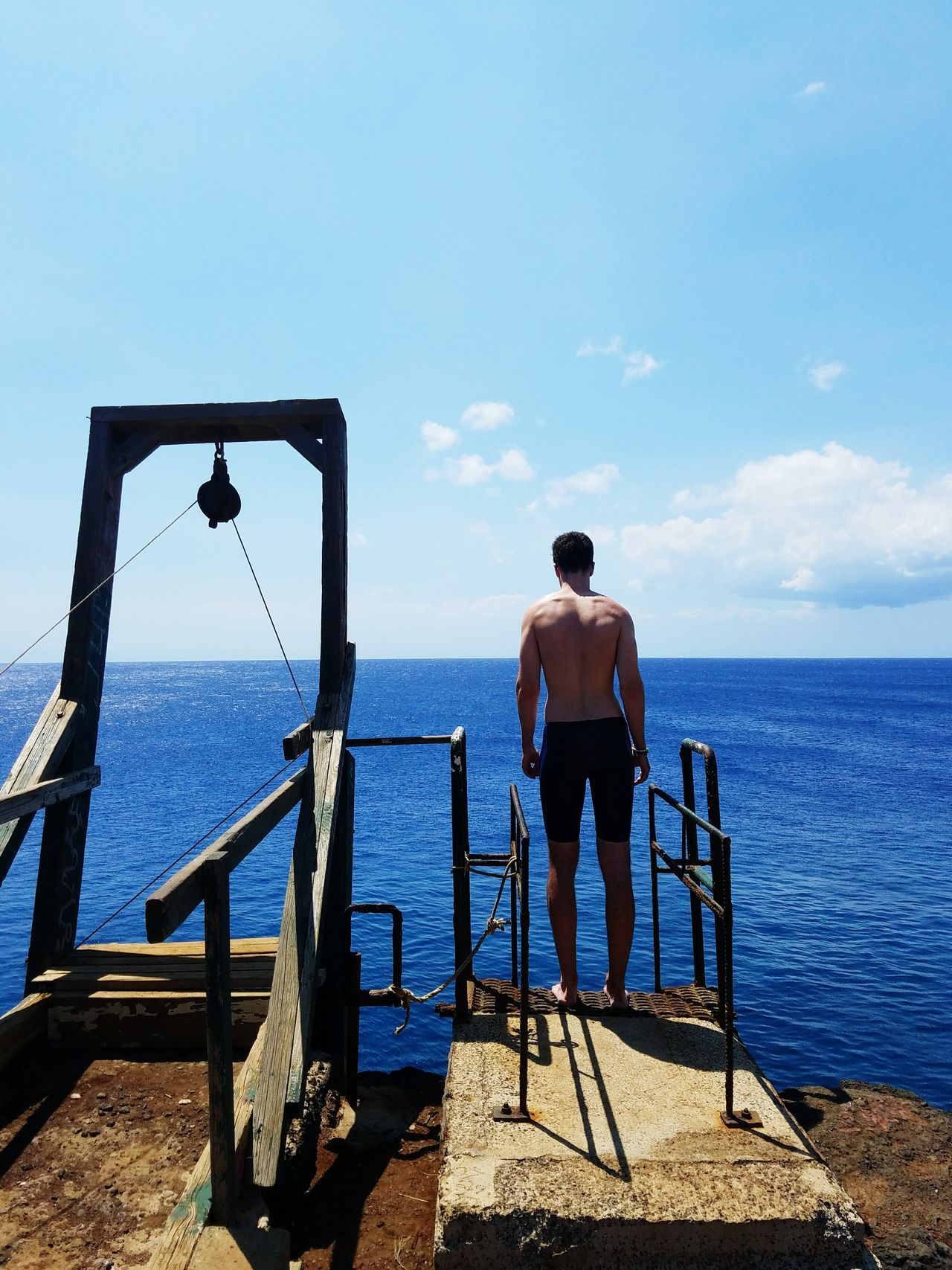 to jump or not to jump? Sea Railing Sky Blue Scenics Clear Sky Outdoors Horizon Over Water One Man Only Hawaii Big Island