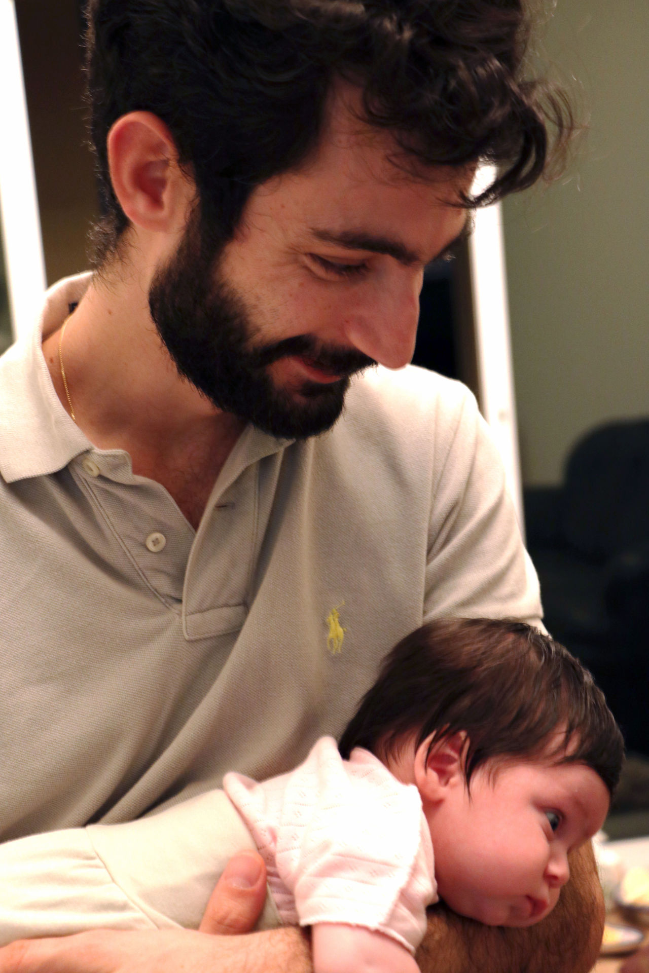 Arms Baby Beard Bonding Family Father And Daughter Fatherhood Moments Rocking Smile Togetherness Two People