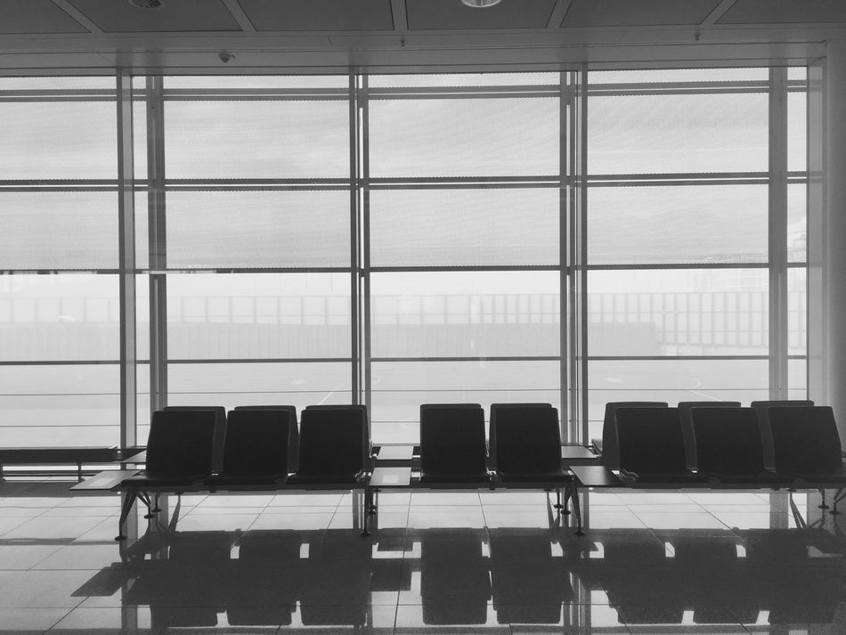 Airport Seats Gate Traveling Lonely Clean Architecture Urban Chairs