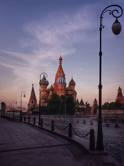 Architecture Neighborhood Map Building Exterior City Cityscape Cloud - Sky Dawn Dawn Of A New Day Illuminated Lighting Equipment Moon Morning Morning Light Morning Sky No People Outdoors Red Dawn Russia Sky St Basil's Cathedral Sunset Tiled Floor Tourism Twilight Twilight Sky