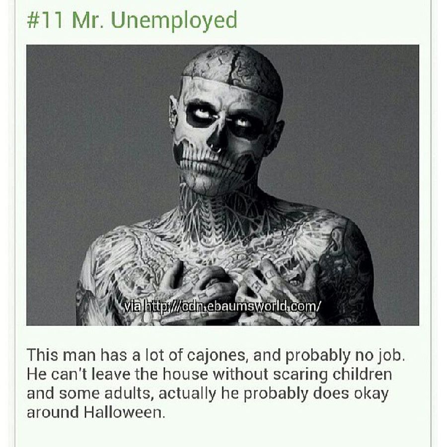 Saw this this morning on like . com and it kinda pissed me off. Stereotype much? He's actually a Canadian model http://en.m.wikipedia.org/wiki/Rick_Genest Rickgenest Model Dontstereotype