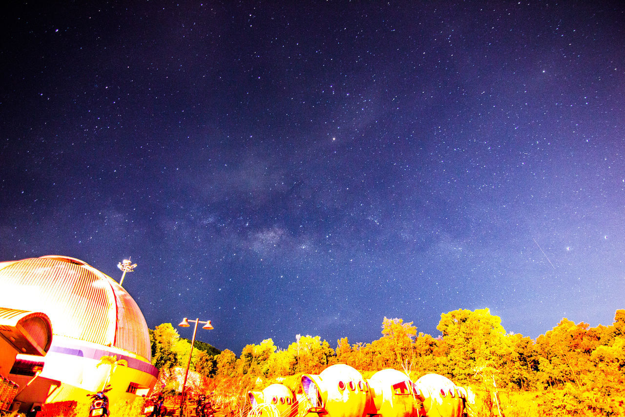 Architecture Astronomy Beauty In Nature Building Exterior Built Structure Constellation Dome Galaxy Nature Night No People Outdoors Place Of Worship Religion Sky Spirituality Star - Space Tree