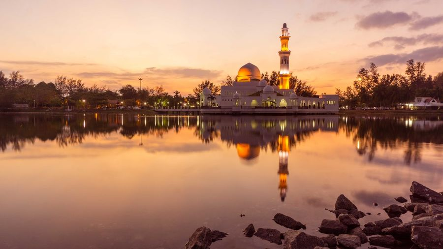 Architecture Beauty In Nature Built Structure Cloud Cloud - Sky Floating Mosque Lake Mosque Nature No People Orange Color Outdoors Place Of Worship Reflection Religion Scenics Sky Spirituality Standing Water Sunset Tranquil Scene Tranquility Travel Destinations Water