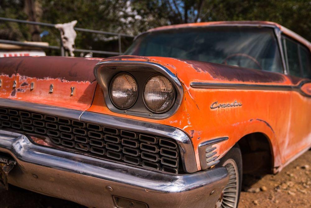 Hackberry HackberryGeneralStore Arizona Route 66 Roadtrip Car Collector's Car Old-fashioned Orange Color Antique USAtrip USA Oldtimer