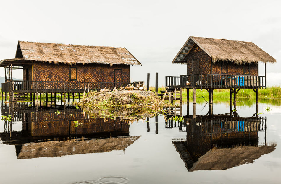 Architecture Building Exterior Built Structure Day Ducks EyeEmNewHere Inle Lake Lake Mirror Reflection Mirroring Mirroring In Water Myanmar Nature No People Outdoors Rattan Reflection Sky Straw Tranquility Tree Water Waterfront