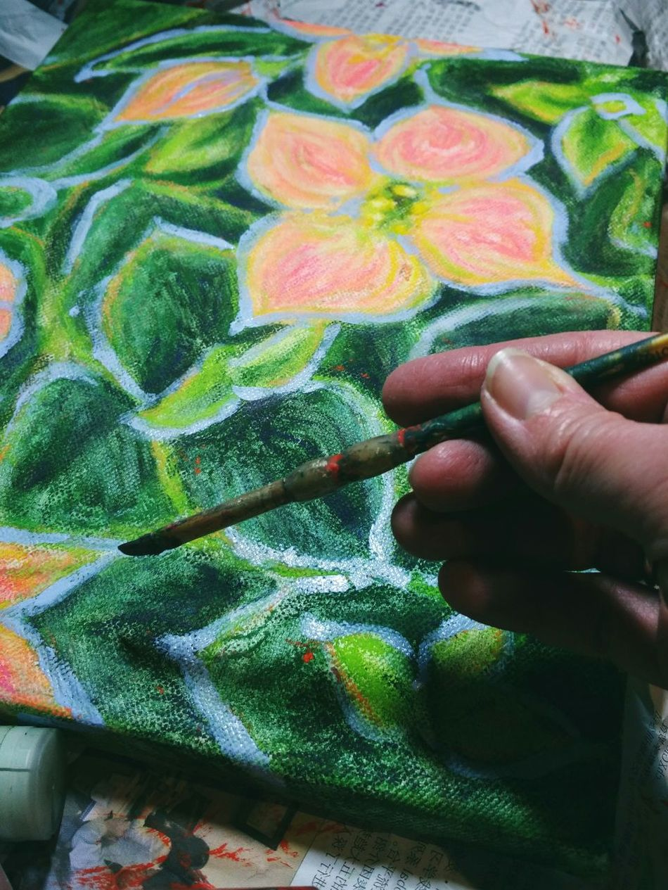 ... Working on an old Kalanchoe Painting ... Human Hand Creativity Art And Craft One Person Holding Real People Lifestyles Drawing - Art Product Artist Pattern People Close-up Indoors  Human Body Part Multi Colored Adult Adults Only Paintbrush Flowers Acrylicpainting  Pink