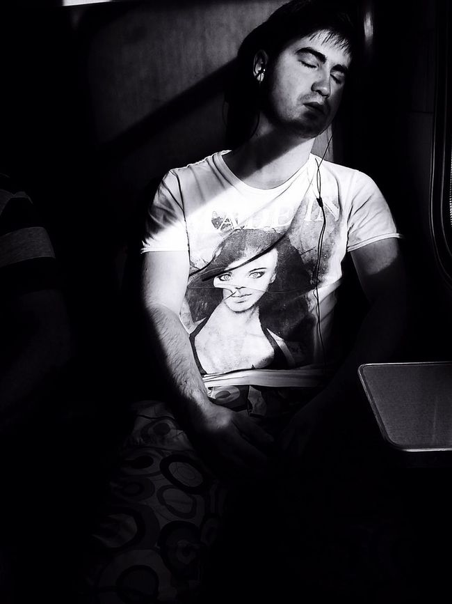 Strange guy fell asleep in a train ;) Taking Photos People Watching Light And Shadow Blackandwhite Randomshot In Train Traveling Random People