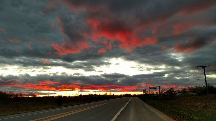 After the storm. Along route 11 in Champlain, NY. Dramatic Sky Sunset Cloud - Sky Transportation Multi Colored Road Travel Journey No People Outdoors Sky Nature Day Grass Oil Pump