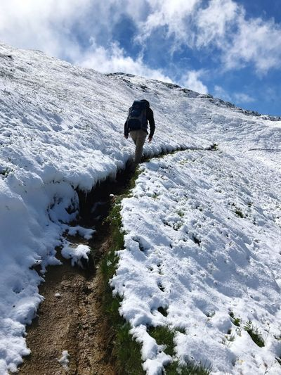 Hiking Man Alps Mountain Trail Path Hiking Trail Winter Nature Weather Snow Cold Temperature Cloud - Sky Full Length Beauty In Nature Real People Rear View Adventure Day Sky One Person Walking Outdoors Leisure Activity Scenics Men Low Angle View