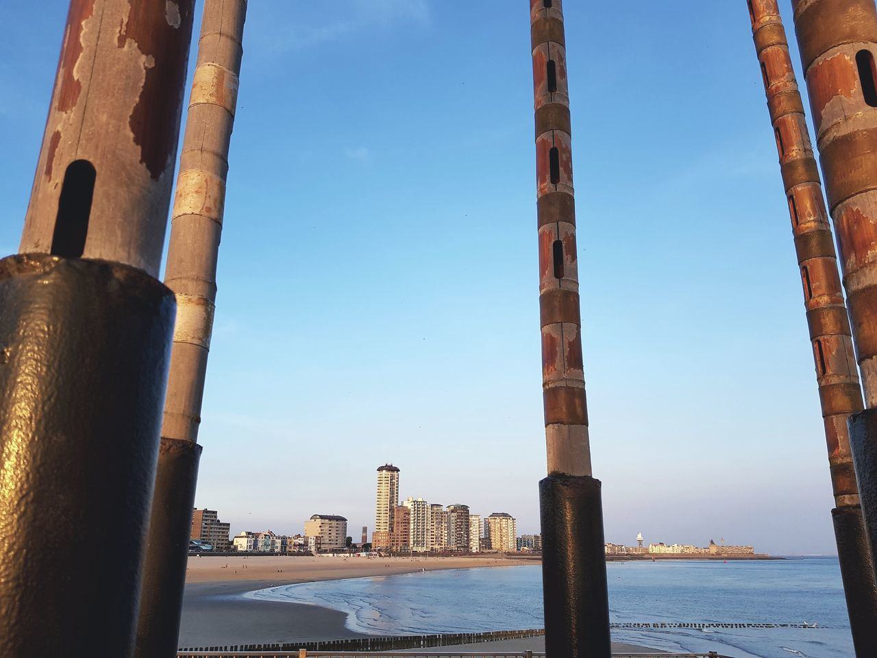 Water Sky Architecture Built Structure No People Blue City Clear Sky Cityscape Steel Scenics Historic Steel Structure  Dutchphotographer Eye4photography  Taking Pictures Taking Photos Backgrounds Wind Ornament Amazing View City Close-up Travel Destinations Dutch Cities Horizon Over Water