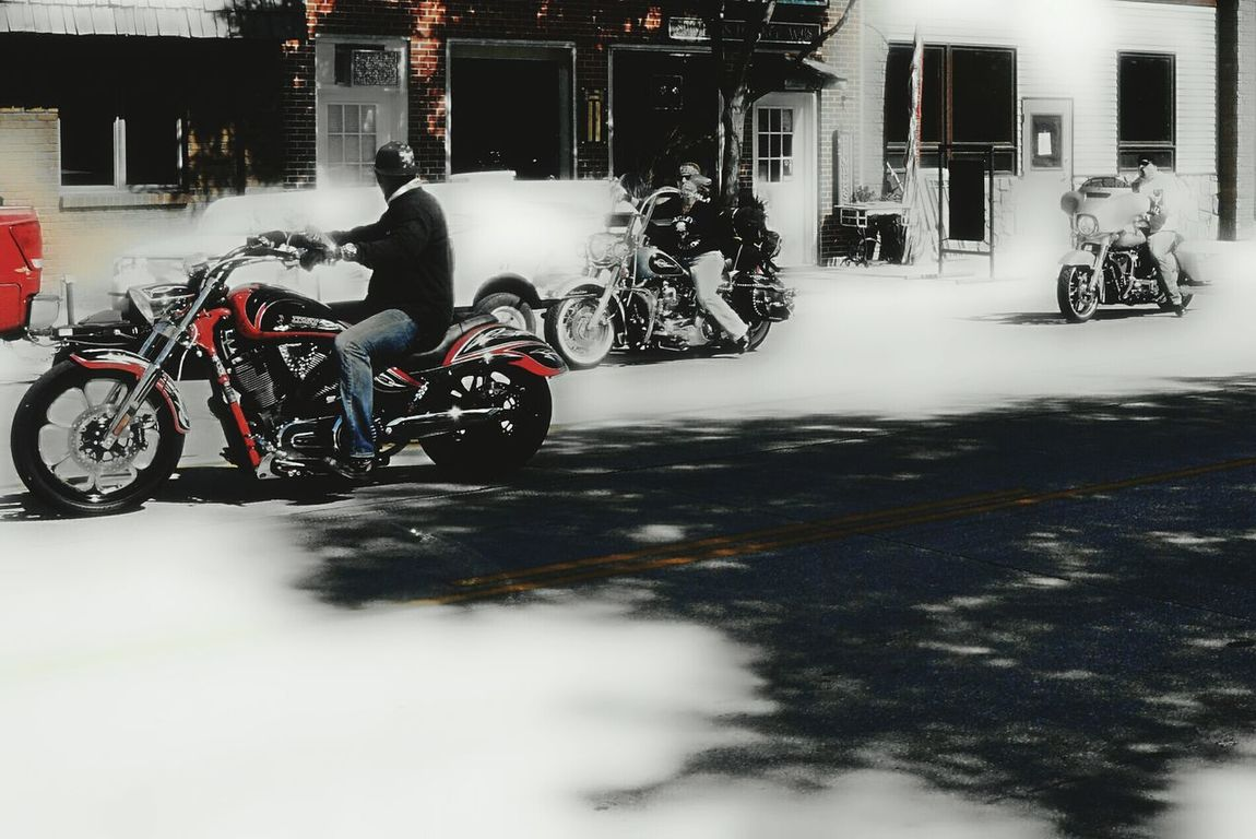 Friends ride together Main Street Lusk Wyoming Some Stop In Town Getting Gas Hitting The Bars Eating Domewhere
