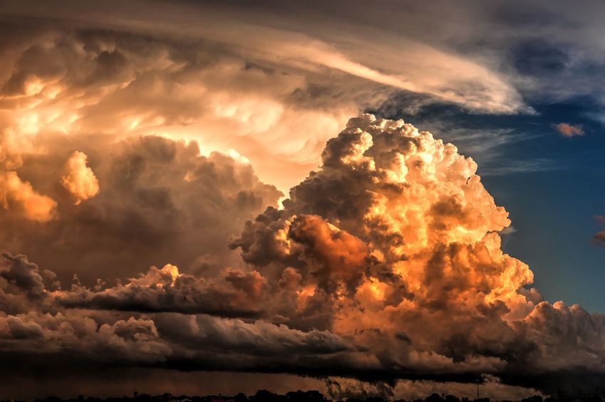 HDR Sunset Dynamic Clouds Dramatic Sky Clouds Clouds And Sky Cloudscape Storm Clouds At Sunset Storm Clouds Stormy Weather Blue Skies Contrasting Colors Rich Colours Warm Colours