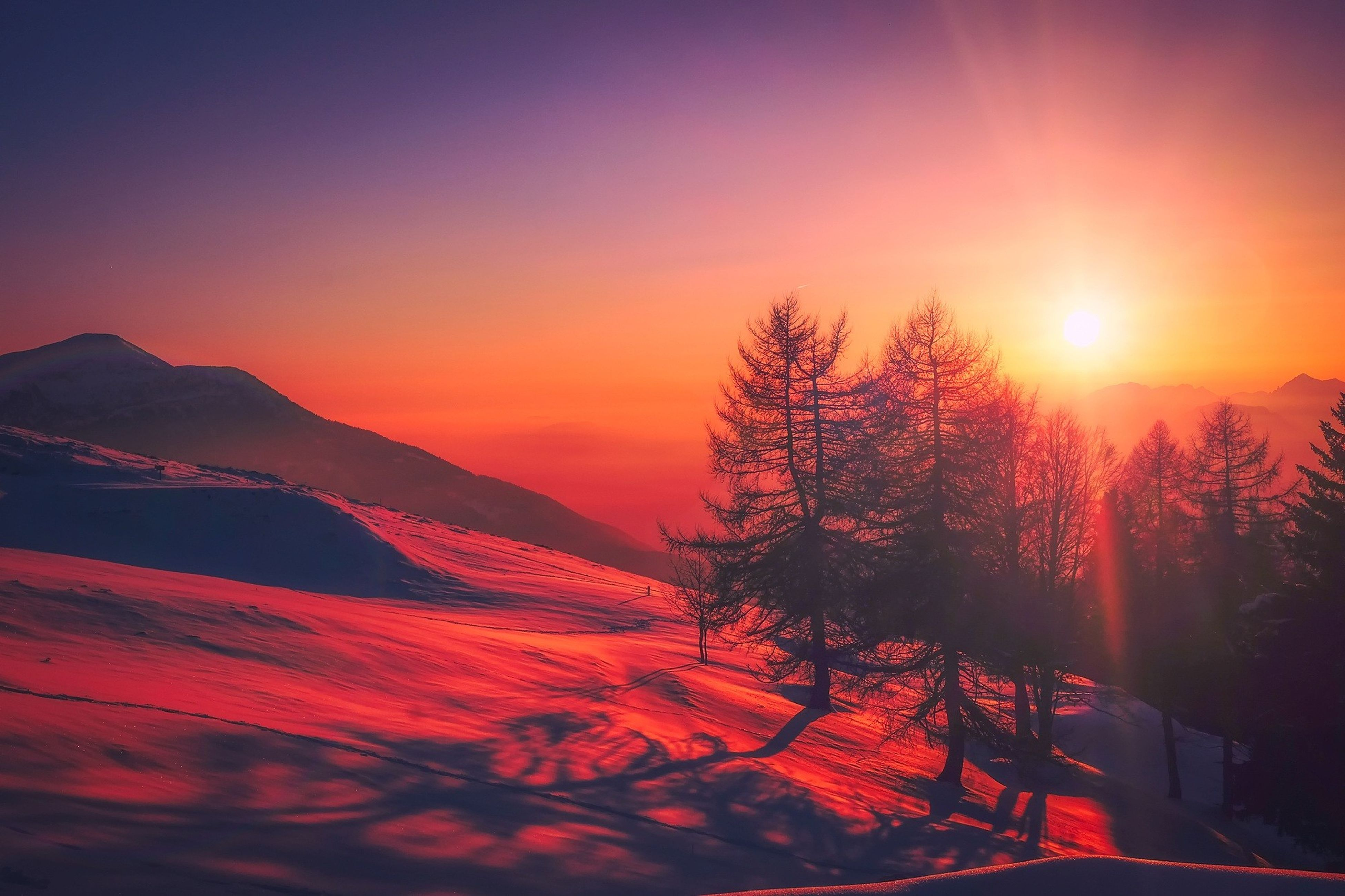 snow, winter, cold temperature, sunset, beauty in nature, nature, sun, tranquility, scenics, tranquil scene, sunlight, outdoors, landscape, no people, mountain, tree, sky, day