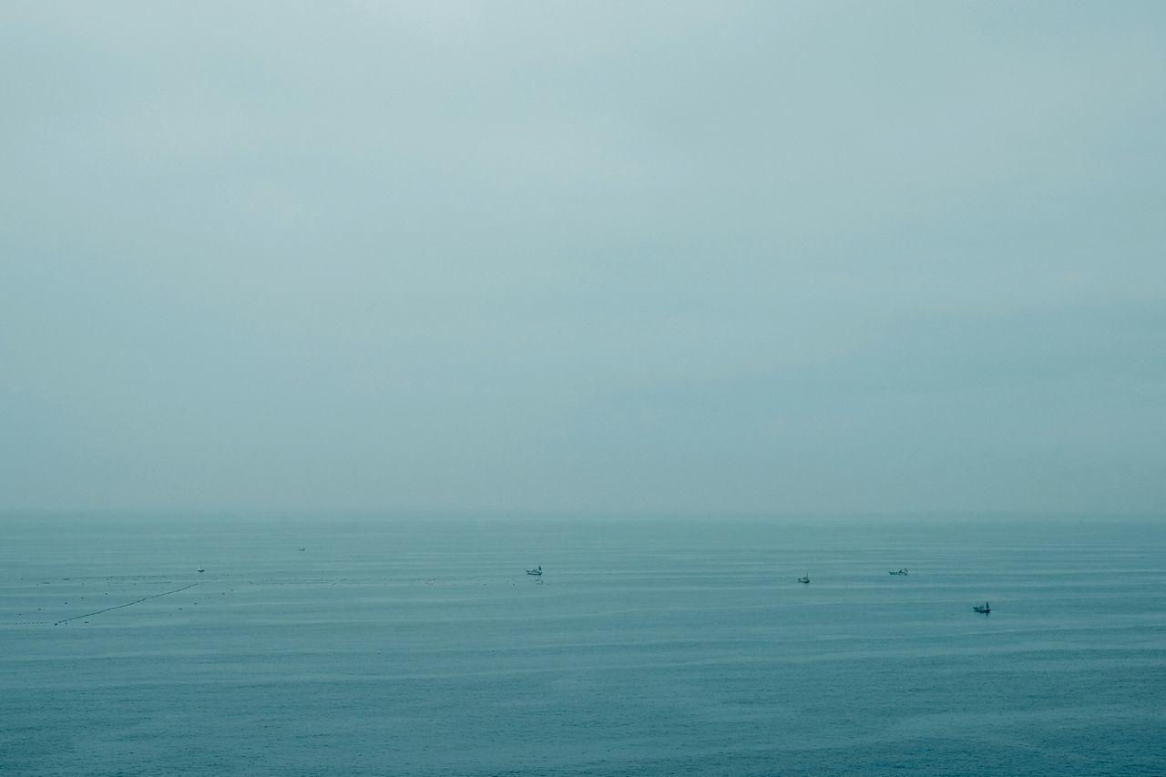 Landscape Beach Abstract Sea Seascape Blue Fog Foggy Foggy Landscape Deceptively Simple