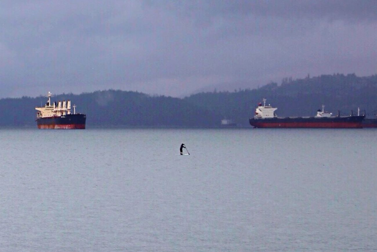 Capturing Freedom Solitary Boarder Amongst Freithers Vancouver Canada Pacific Ocean Water