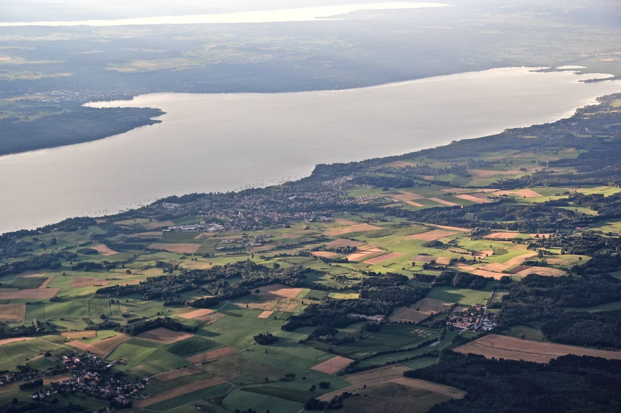 A Bird's Eye View Landscape Water Aerial View Scenics Tranquil Scene Tranquility Beauty In Nature Idyllic Sea Mountain Nature Non-urban Scene Island Countryside Solitude Cloud - Sky Remote Green Color Coastline Sky Lake Ammersee Bavaria