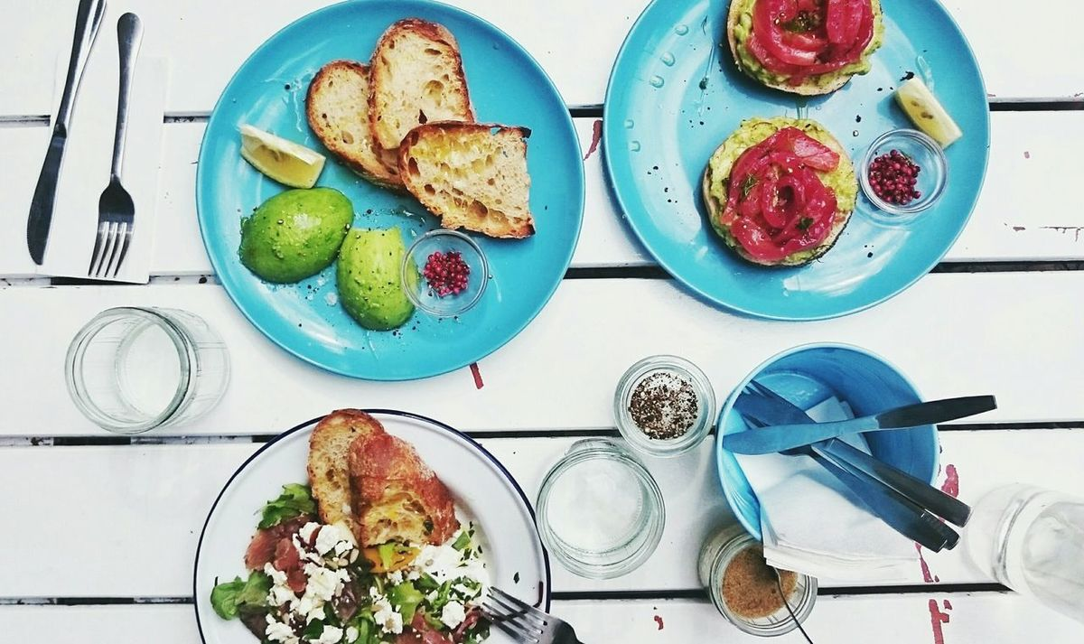 Brunch Foodie On The Table Blue Summer Happiness