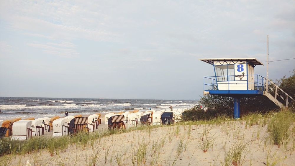 EyeEm Selects Sea Beach Horizon Over Water Lifeguard Hut Safety Lifeguard  Sky Outdoors Sand Nature Water Beauty In Nature Day Wave Waves Wind Windy Balticsea Baltic Coast Baltic See Baltic Usedom Germany Coast