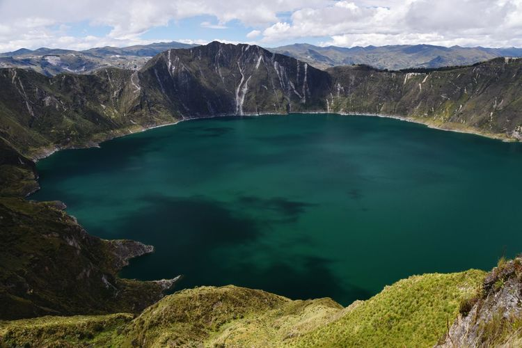 EyeEm Selects Colourful Lake Volcanic Crater Quilatoa Landscape Beauty Beauty In Nature Peaceful Solitude Green