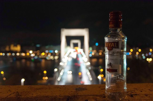 City life Illuminated Bottle Night Focus On Foreground Drink Outdoors Sky Vodka🍹 Hungary Budapest First Eyeem Photo