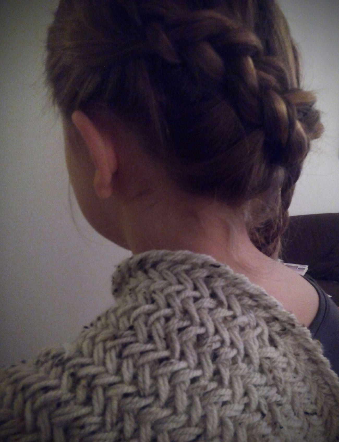 Braid Braided Braided Hair Close-up Herringbone Stitch Knitted  Knitting One Person Wool