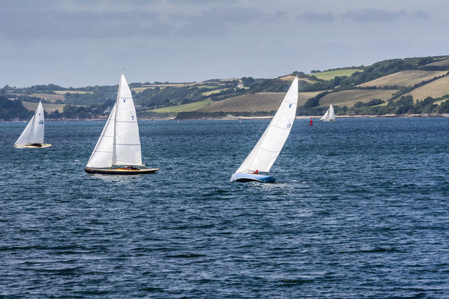 Beauty In Nature Blue Wave Boat Canvas Cloud - Sky Cornwall Falmouth Incidental People Mode Of Transport Nautical Vessel Outdoors Regatta Rippled Sailboat Sailing Scenics Sea Sky Tranquil Scene Tranquility Transportation Water Waterfront