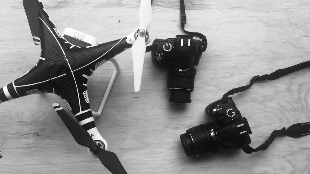 Ready For The Day No People Day Musical Instrument Indoors  Dji Phantom Drone  SLR Camera Photographic Equipment