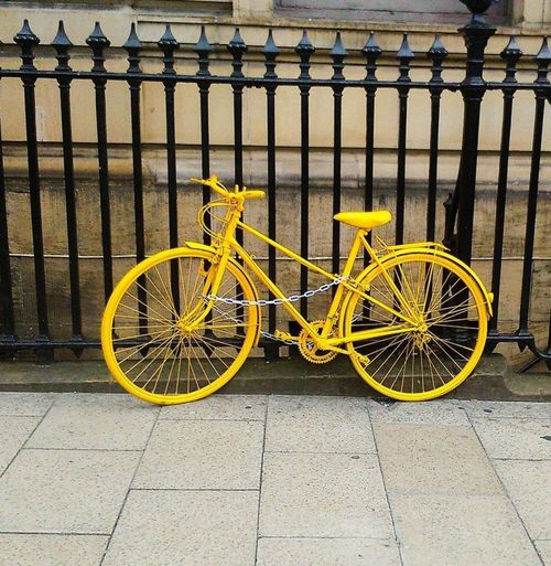 Bike Bycicle Yellowbike Yellow Color BrightYellow Bright Colors Oldmeetsmodern Transportation Stationary No People Outdoors Land Vehicle