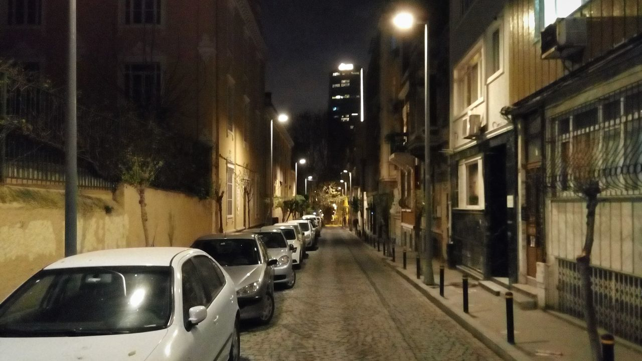 architecture, built structure, car, building exterior, illuminated, street, transportation, night, no people, road, outdoors, city