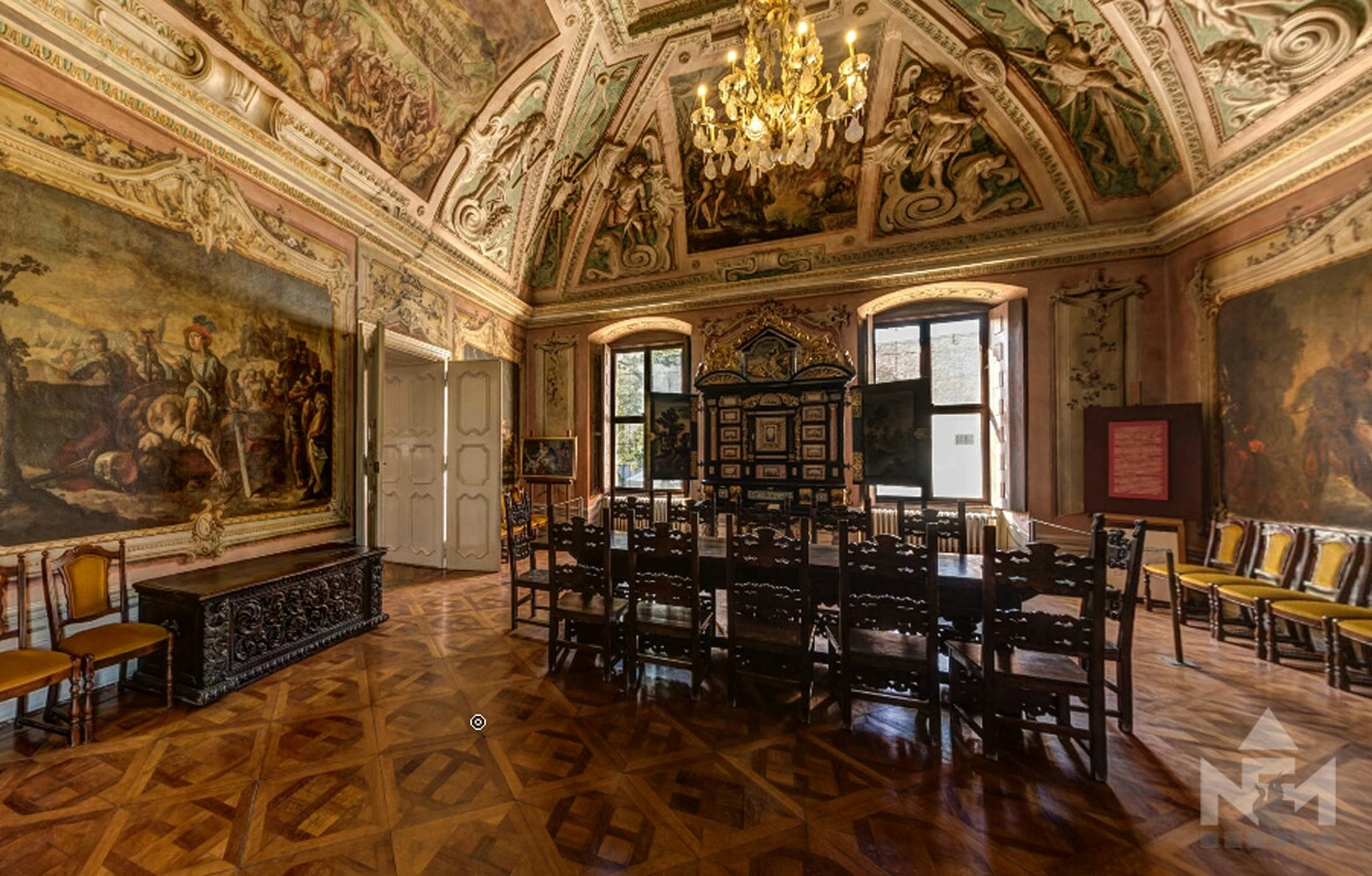 Great hall in the Nadasdy Museum Exhibition Castle Museum Great Hall Fresco