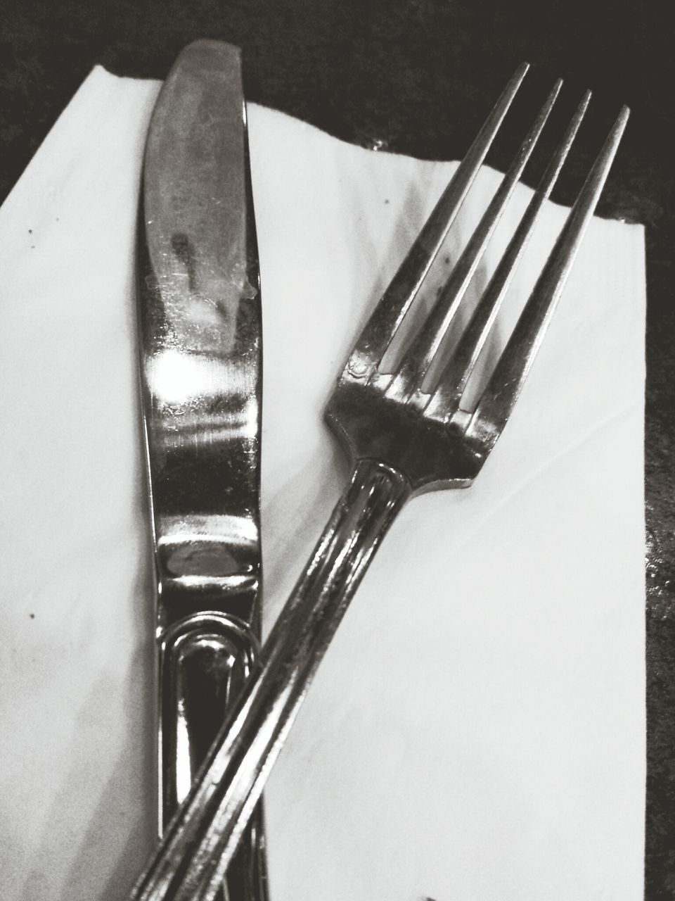 Close-up of fork and table knife