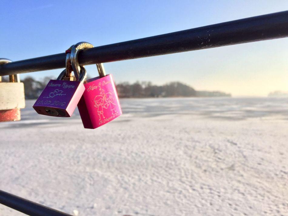 Padlock Security Safety Love Lock Lock Railing Winter Snow Metal Love Hope Outdoors Day No People Lake Water Nature Ice Lake