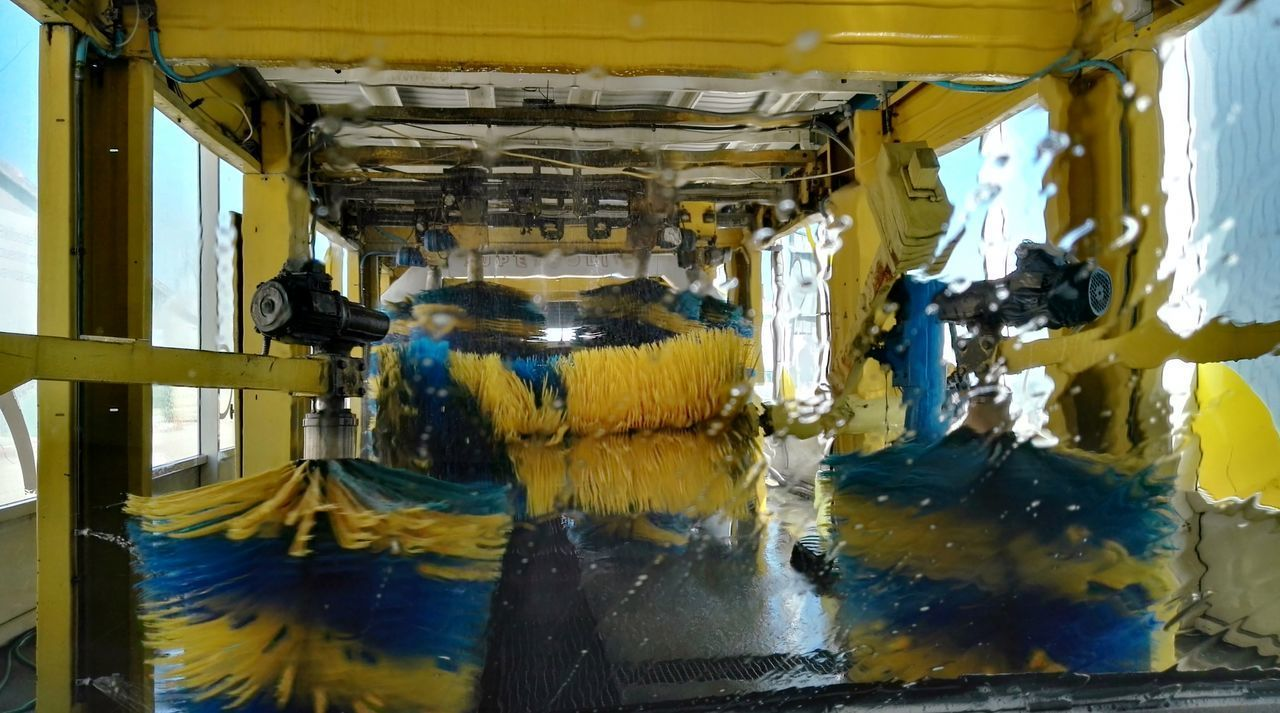 Car Plant Carwash Clean Day Factory Indoors  Manufacturing Equipment Motion No People Soap Technology Water Yellow