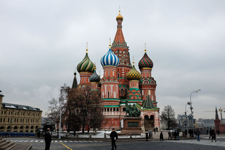 St Basil's Cathedral Moscow Russia St Basil's Cathedral Architecture Building Exterior Built Structure City Cloud - Sky Day Dome History Outdoors People Place Of Worship Real People Religion Sky Spirituality Travel Destinations Tree