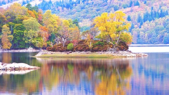 Loch Katrine Water Reflection Tree Nature Tranquility Beauty In Nature Tranquil Scene Autumn Reflections Scotland 💕 Scottish Highlands Mirroring In Water Colors Island