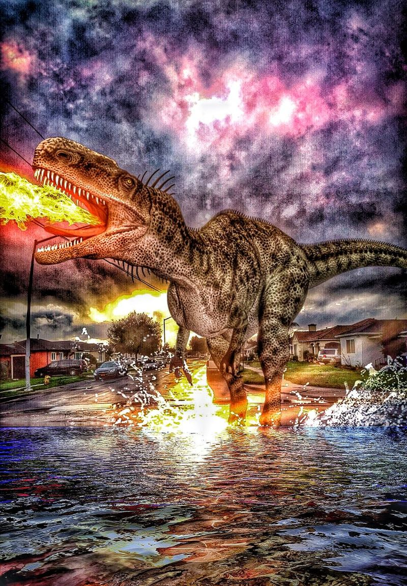 Angry neighbor! Dinosaurs Dinosaur LensFx Snapseed Photographic Art Street Art Art, Drawing, Creativity