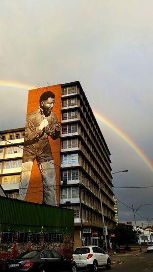 City Sky Building Exterior City Life No People Outdoors Architecture Cityscape Day ArtWork Boxer Boxing Rainbows Rainy Days Nelson Mandela Art