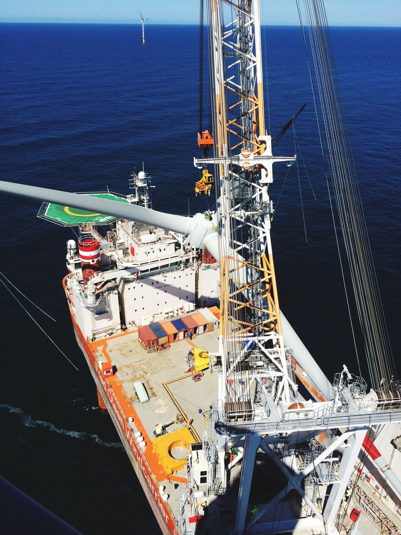 Work Nautical Vessel High Angle View Outdoors Water Sailing Wind Windturbines Jackup Crane Renewable Energy Construction