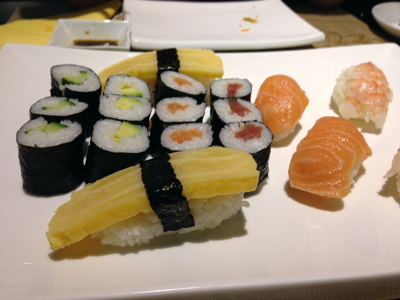 sushi, food and drink, food, freshness, japanese food, seafood, ready-to-eat, still life, serving size, healthy eating, plate, slice, indoors, appetizer, no people, close-up, salmon, indulgence, table, gourmet, temptation, day
