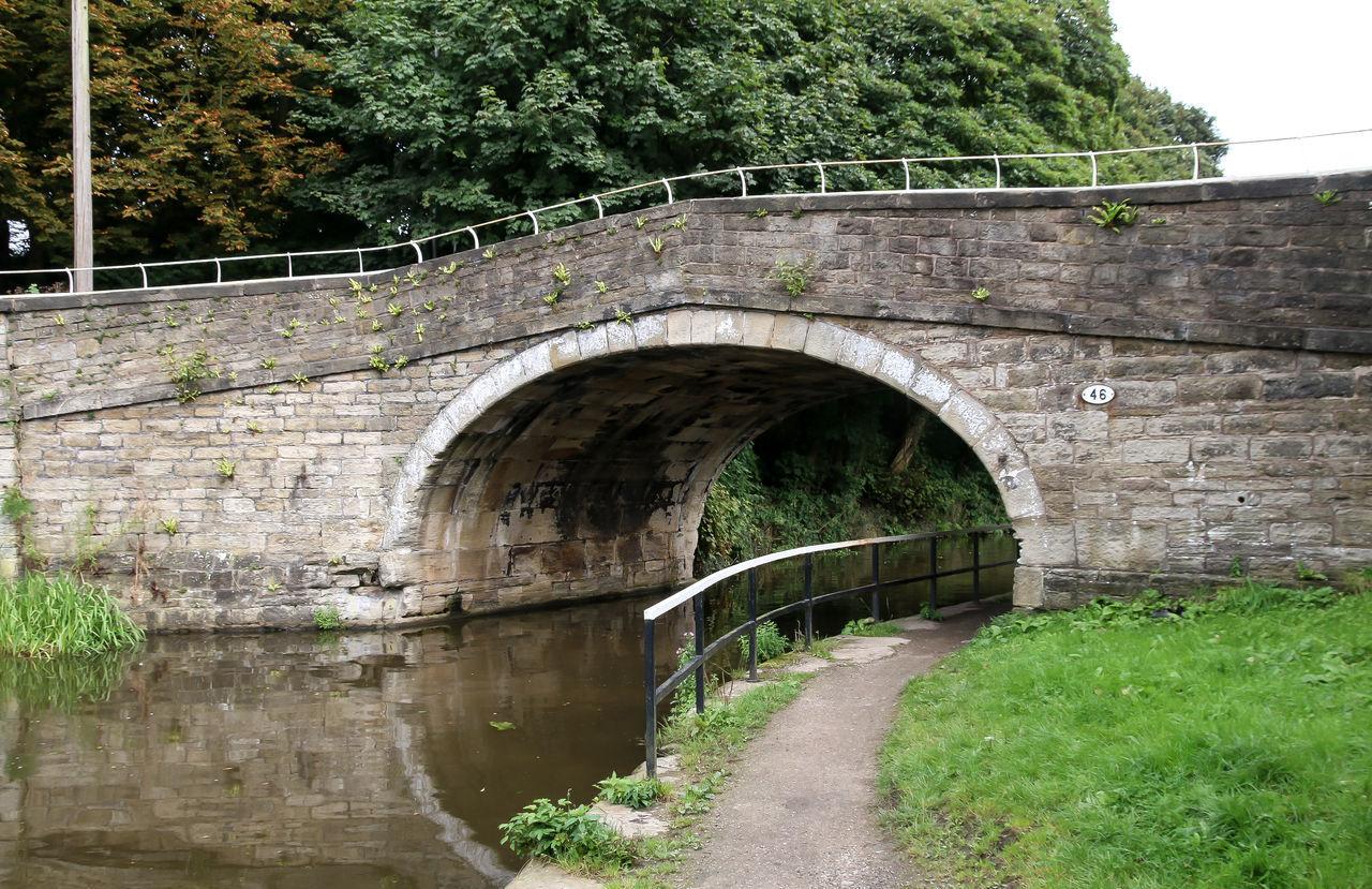 Barge Grass Leeds Liverpool Canal Transportation Bridge Stone Tower Travel Destinations