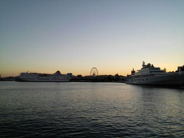 Sunset Water Ship Sea Puerto Port Mer Mar Málaga Spain ❤ Barco 船 港 アンダルシア Noria Granderoue Ferris Wheel 観覧車