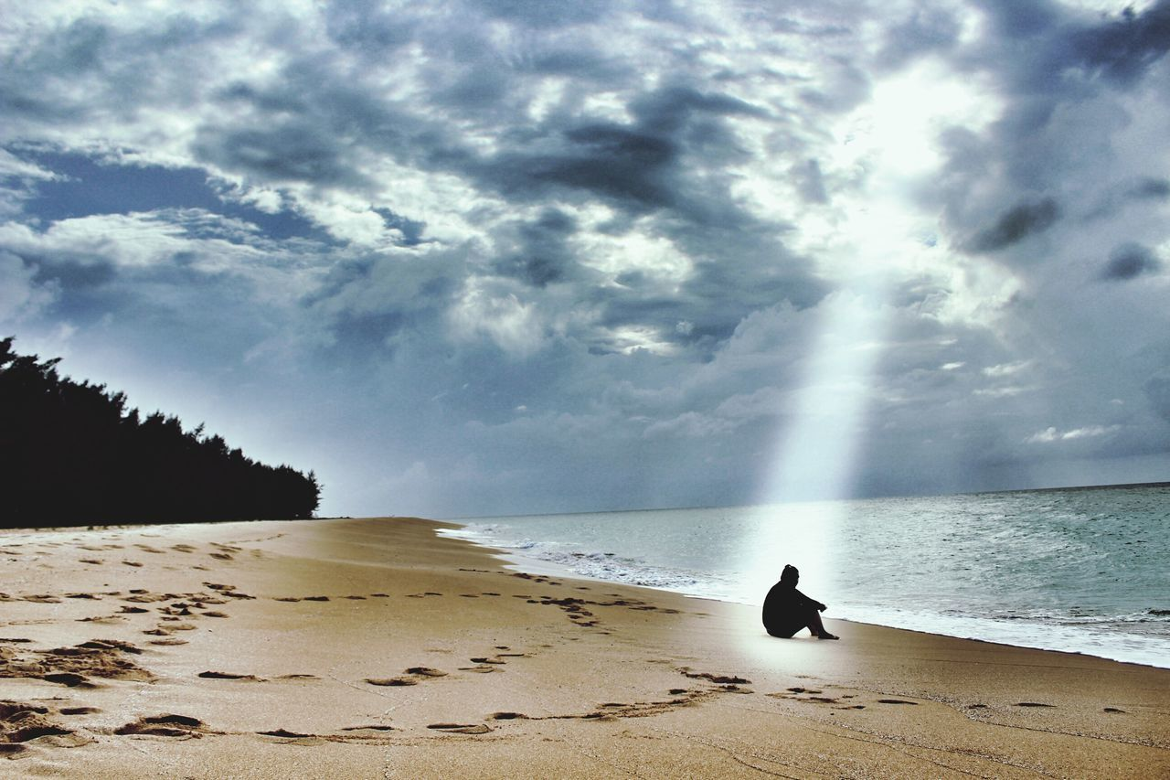 sea, nature, horizon over water, beauty in nature, beach, water, sky, scenics, sand, cloud - sky, silhouette, animal themes, tranquil scene, tranquility, bird, one animal, outdoors, day, no people, animals in the wild, wave