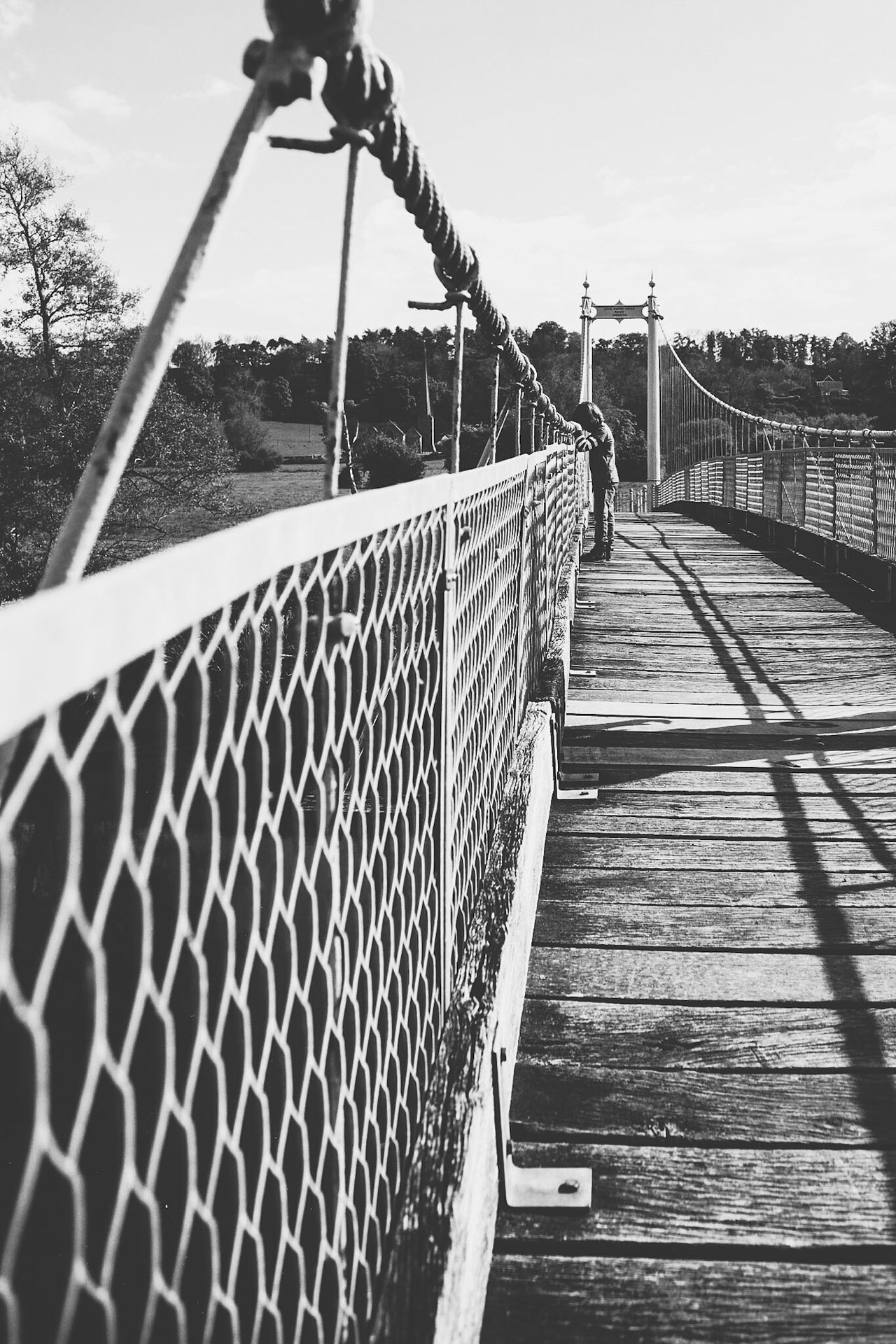 Railing Sky Outdoors Day Lauraloophotography Bridge Suspension Bridge Looking Black And White