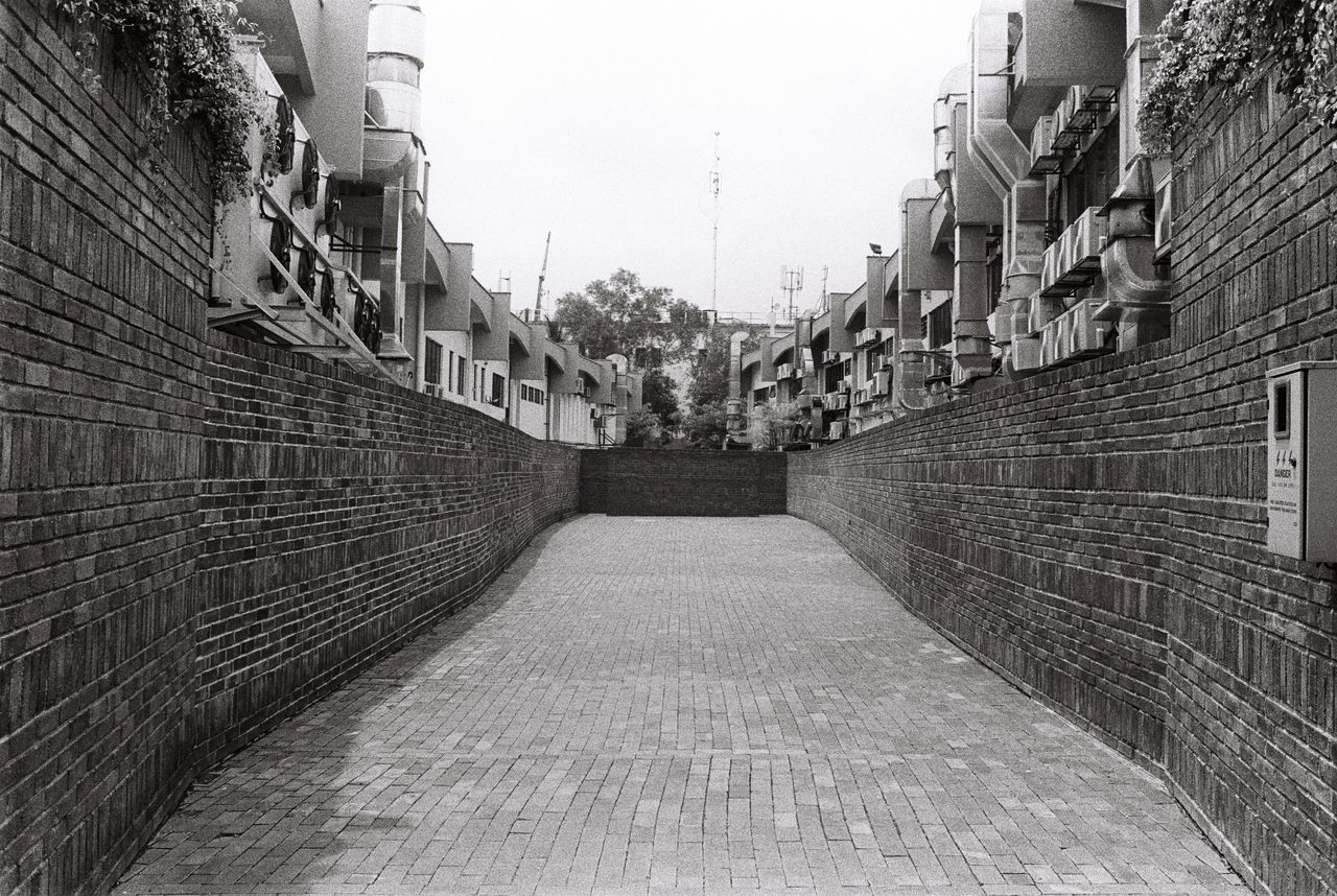 Alley Architecture Black And White Bricks Concrete Film No People Wall