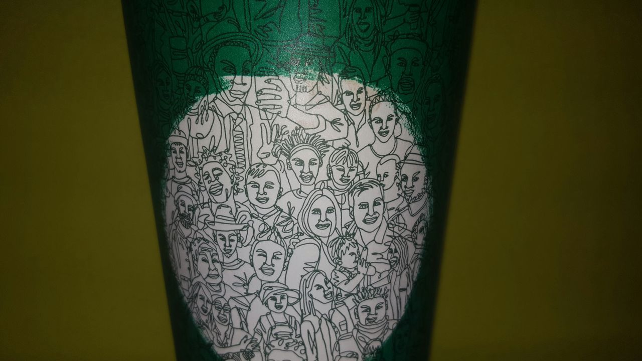 To me, Starbucks' cup artwork represents us (humans) as one. At the end of each day, we all bleed the same blood. Come together and spread the love! Paper Close-up Indoors  No People Starbucks Coffee Starbucks We Are One Spread Love No Hate Peace Love Stand Up EyeEmNewHere