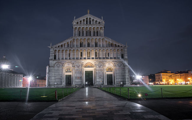 PISA, ITALY- OCTOBER 22 ,2016 : exteriors and architectural details of Pisa cathedral October 22 2016 in Pisa Italy Architecture City Cityscape Cloud - Sky Dusk Façade Government History Igniting Illuminated Landscape Medieval Night No People Outdoors Pisa Pisa Italy Pisa Tower Sky Street Light Tower Travel Destinations