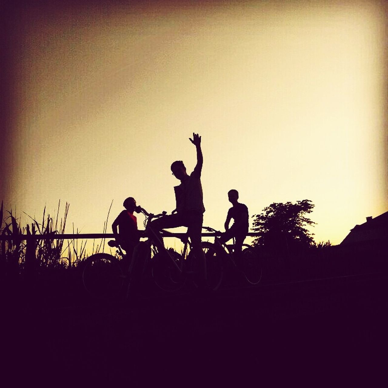 silhouette, sunset, clear sky, fun, enjoyment, leisure activity, outdoors, togetherness, real people, sky, men, lifestyles, nature, day, people