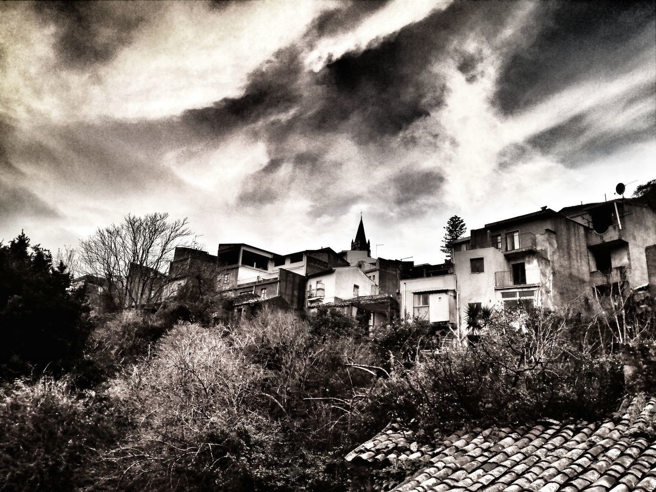 Sky Architecture Tree Outdoors No People Nature Clouds And Sky Panoramic Photography Cielo E Nuvole Tramonti_italiani Sicilytourism Sicily Landscape Alberi Landscape Natura Nature Lover Beauty In Nature Blackandwhite Photography