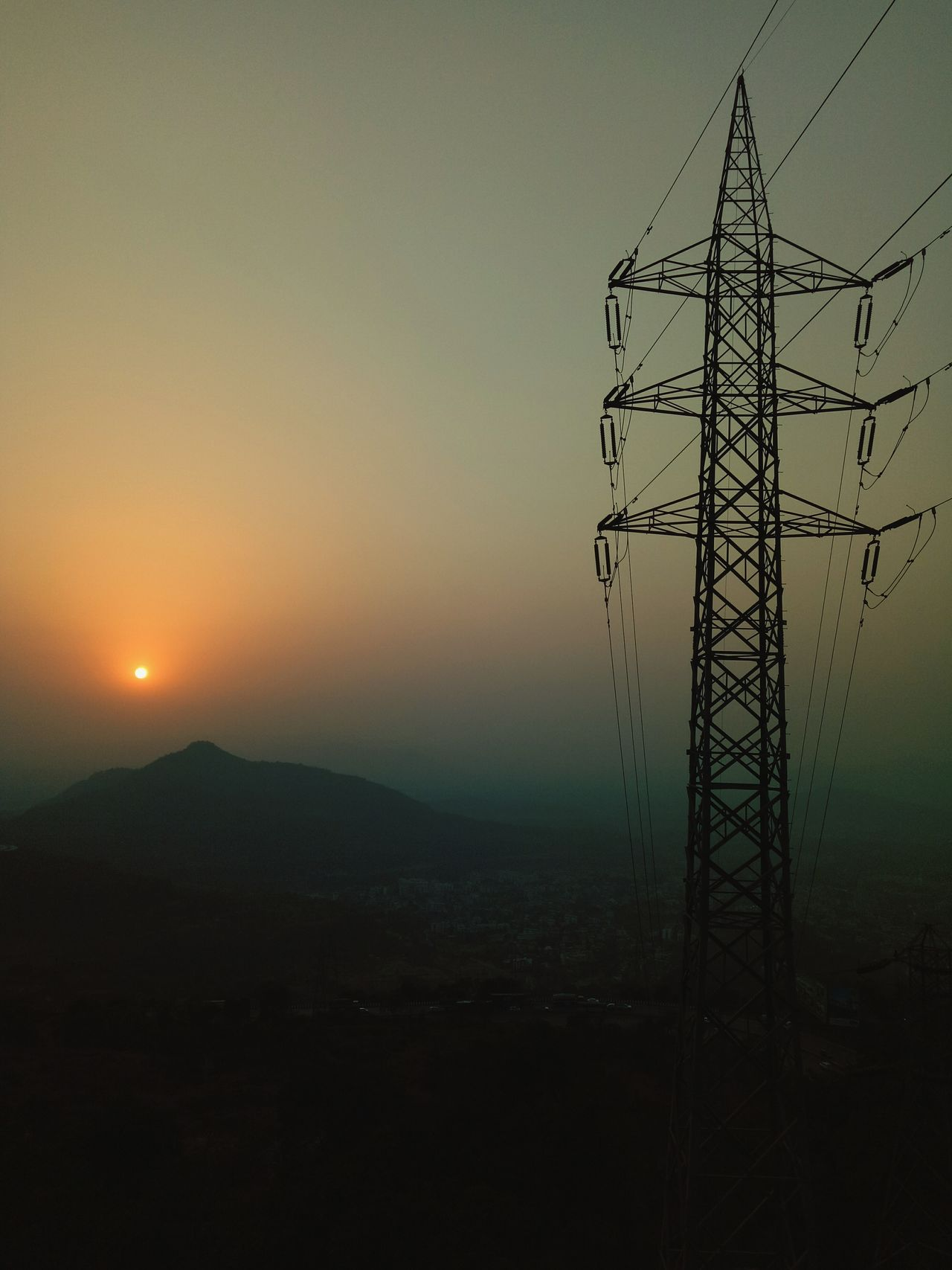 Cable Fog Electricity  Silhouette Sunset Electricity Pylon No People Tranquility Technology Sky Dawn Landscape Outdoors Tree Nature Telephone Line Day Togetherness Scenics Mountain Beauty In Nature Travel Destinations Tranquil Scene Dark Standing